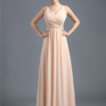 Champagne Spaghetti Straps Chiffon Bridesmaid Dress 2016 Simple Style V-neck Ruched Bust Floor Length Prom Party Dress Vestidos