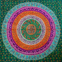 Mandala Tapestry, Meditation Wall Art, Beach Throw, Fabric Wall Hanging, Bohemian Bed Cover, Dorm Bedding, Hippie Wall Tapestries
