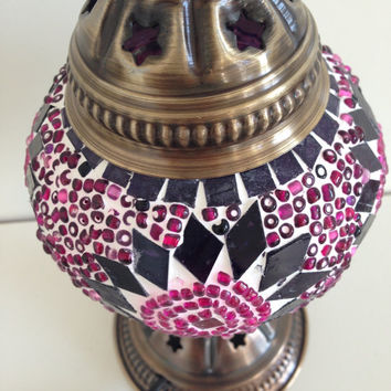 Pink Mosaic lamp with vintage look base , Bedside night lamp, Turkish lamp, Night Decoration, Bedroom Decoration, Boho Lamp, light Decor
