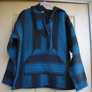 Vintage 80s 90s Mexican Surfer Baja Pullover Hoodie // stripes // S Small // drug rug // hooded jacket // woven poncho
