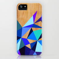 Wooden Geo Blue iPhone & iPod Case by House of Jennifer