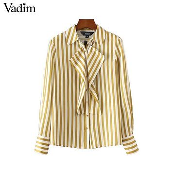 Vadim women sweet ruffles striped shirts long sleeve turn down collar pleated blouses ladies office wear brand tops LT2158