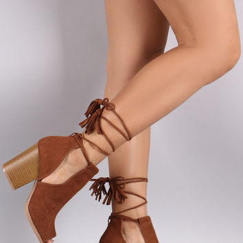 Qupid Fringe Tassel Lace Up Slit Booties