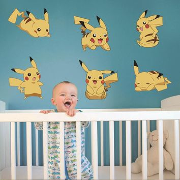 Removable  DIY 11pcs Cute Picachu Peel Wall Sticker Kid Child Baby Nursery 6077. Game Room Wall DecorKawaii Pokemon go  AT_89_9