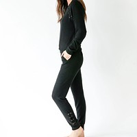 Jogger with Lace Up Sides - Black