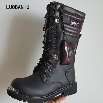 2017 New Military boots winter men boots tactical boots leather men shoes Lace-Up men botas zapatos hombre australian boots