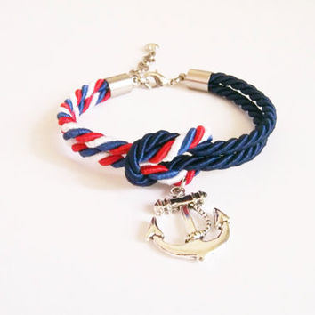 Navy blue & red white blue cord nautical rope bracelet,  tie it knot , rope jewelry ,rope bracelet ,silver anchor, sailor knot