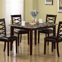 Dark Cherry Marble 5Pcs Dining Set