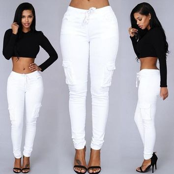 Autumn Trousers For Women  2016 Long Cargo Women's Pants Drawstring Casual Pantalon Femme White Female Pants Women Plus Size