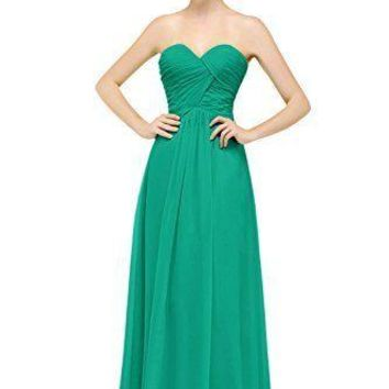 TDHQ Women's Formal Sweetheart Bridesmaid Chiffon Prom Dress Long Evening Party Gowns