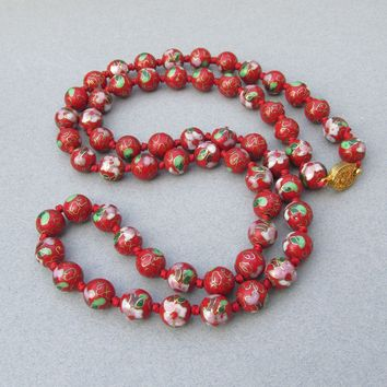 """Chinese Export Vintage 12mm Red Cloisonne Beaded 31"""" LONG Necklace"""