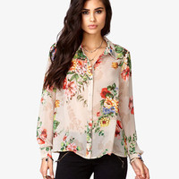 Pyramid Studded Floral Print Shirt | FOREVER 21 - 2046780039