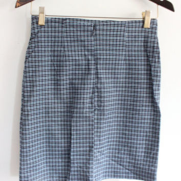 Blue Plaid 90s Mini Skirt
