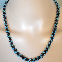 Black Twined With Blue Beaded Necklace