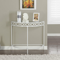 "White Metal 36""L Hall Console Accent Table"