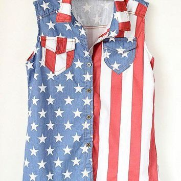 [grxjy560040]Latest Retro Sleeveless Americana Denim Vest