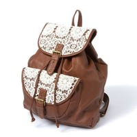 Mesa Faux Leather and Crochet Backpack  | Icing