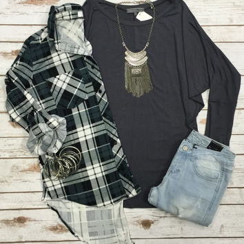 Long Sleeve Dolman: Slate