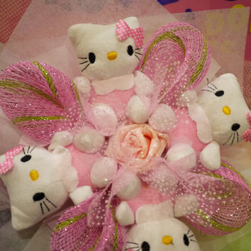 Hello! Cute Kitty doll in Pink Outfit Doll Bouquet. Anniversary & Birthday gift!!