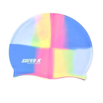 Rainbow Silicone Rubber Lady Swimming Cap Adult Women Waterproof Femme Swim Caps Hat Swimming Accessories Mixed-color Caps swim