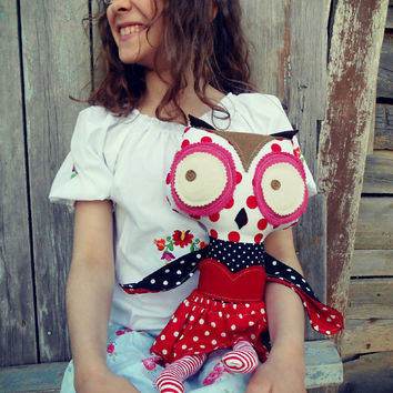 owl plush, owl soft toy, owl stuffed animal, owl softie cute, sensory toy, large owl, dress up doll, ragdoll, fabric doll, fabric owl,