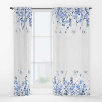 "Window curtains - Single or Double Panels, 50""x84"" each, Home, Decor, Bedroom, Kitchen, Style, Blue, White, Gift, Designer, Abstract, Modern"