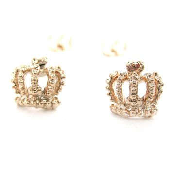 Crown Shaped Princess Royalty Themed Stud Earrings in Rose Gold