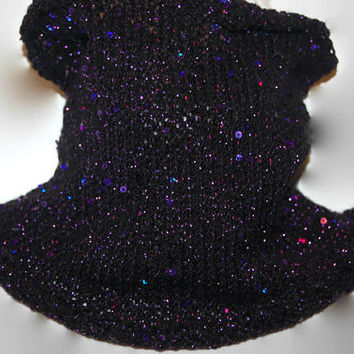 Sequins Scarf, Pull-Over Neck Warmer, Sparkle Neck Warmer, Sequins Black Cowl, Black and Purple Scarf, Sequins Black Scarf