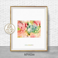 Colorado Map Art Print Colorado Art Print Colorado Decor Colorado Print Map Artwork Map Print Map Poster Watercolor Map ArtPrintZone