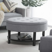 Belham Living Coffee Table Storage Ottoman with Shelf - Gray | www.hayneedle.com