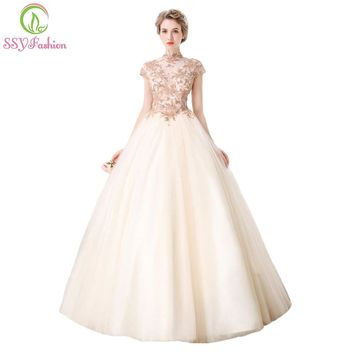 High-end Banquet Elegant Champagne Lace Prom Dress High-neck A-line Floor-length Beading Party Gown