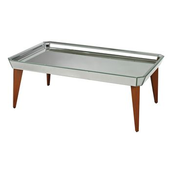 Rushbrook Mid-Century Mirrored Coffee Table By Bright Chestnut,Mirror