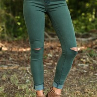 Off She Goes Pine Green Skinny Jeans