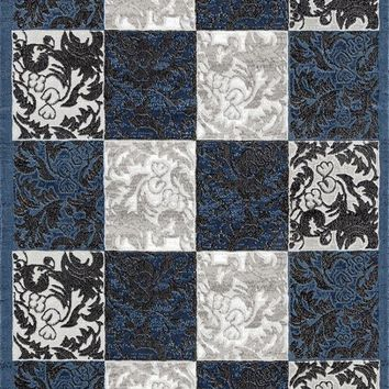 2516 Blue Damask Contemporary Area Rugs