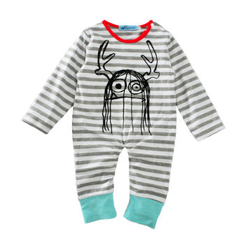 Hand Drawn Boys or Girls Hipster Baby Fleece Romper