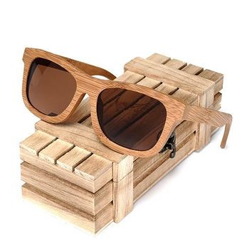 Bamboo Wooden Sunglasses Handmade Polarized Mirror Coating Lenses Eyewear sport glasses in Wood Box