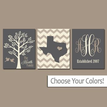 Family Tree Wall Art, Personalized Monogram CANVAS or Prints, Couple Gift, Custom Wedding Gift, Last Name Date Tree Birds State Set of 3