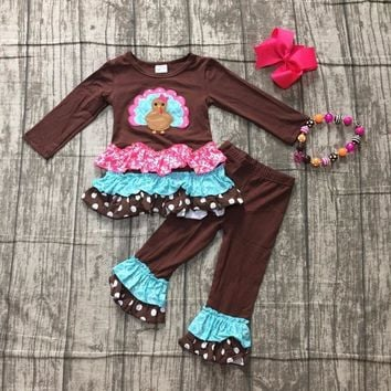 baby girls Fall thanksgiving party outfits girls turkey applique brown top with long pant outfits thankgiving with accessories