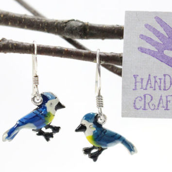 Blue Jay bird dangle drop earrings. Hand painted, hand crafted sterling silver ear wire. Nature, garden inspired design.