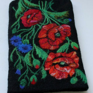 "Black Felted Case with Cornflower and Poppy ""Ceres Time"", Blue-bonnet, Field Flowers, Wool, Needle felted,  i-Phone case, i-Pad Accessories"