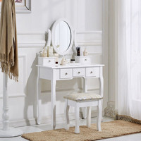 Makeup Dressing Table Set Stool Drawer Mirror Jewelry Desk Bedroom Furnitures