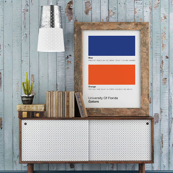 Florida Gators Pantone Poster - University of Florida Gator - Print, Boyfriend Gift, Fathers Day Gift - College Student Gift