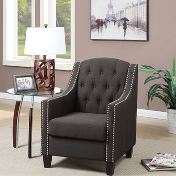 Poundex F1525 Collette collection ash black fabric upholstered tufted back accent chair with nail head trim