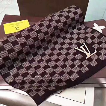 LV Louis Vuitton Popular Retro Coffee Tartan Cashmere Cape Scarf Shawl Scarves Accessories