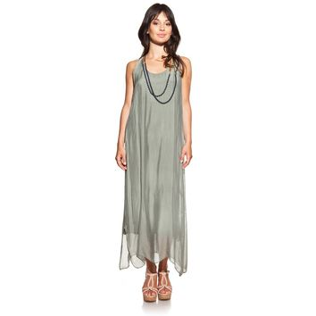 Maxi Silk Green Olive Dress with Side Openings.... Gorgeous!