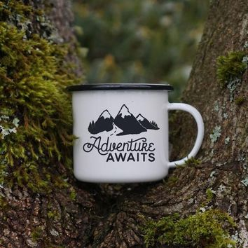 Adventure Awaits - Mountain and Hiking Outdoor Camping Mug