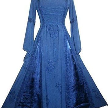 Medieval Corset Satin Embroidered Bell Sleeve Dress