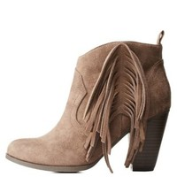 Taupe Chunky Heel Fringe Ankle Booties by Charlotte Russe