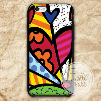 Romero Britto Pop Art Love iPhone 4/4S, 5/5S, 5C Series Hard Plastic Case
