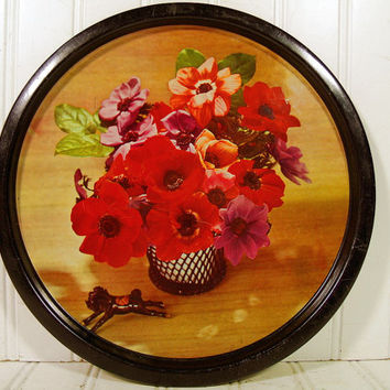 Vintage Red Poppies Floral Photo on Black Enamel Metal Tray - Retro Round Tin Plate with Full Color StillLife Flowers Litho Beverage Server